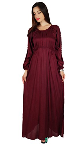 Bimba Women Boho Gothic Style Long Maxi Dress Lace Long Sleeves Gown