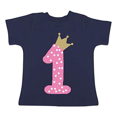 Geburtstag Baby - 1. Geburtstag Krone Mädchen Erster - 12-18 Monate - Navy Blau - BZ02 - Baby T-Shirt Kurzarm