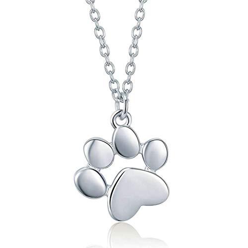 Biezutu 925 Sterling Silber Anhänger Halsketten für Frauen Mädchen, Haustier Hund Fußabdrücke Form, Geschenke für Geburtstag Valentinstag Muttertag -