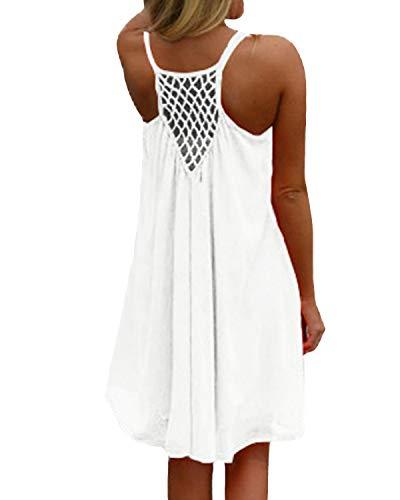 kenoce Damen Sommerkleid Badeanzug Strandkleid Chiffon Bikini Cover Up Boho Halter Ärmellos Lose Sommerkleid Weiß 3XL