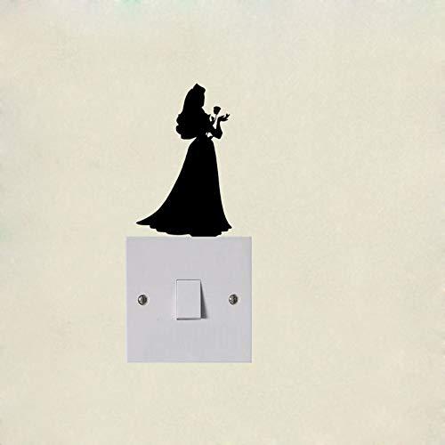WALSTICKEL Wandtattoos Prinzessin Mit Langen Fließenden Haar Vinyl Lichtschalter Aufkleber Dekor Home Wandtattoo, Schwarz