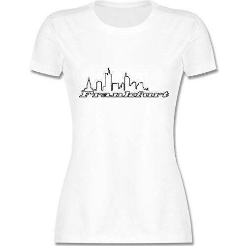 Skyline - Frankfurt Skyline - tailliertes Premium T-Shirt mit Rundhalsausschnitt für Damen Weiß