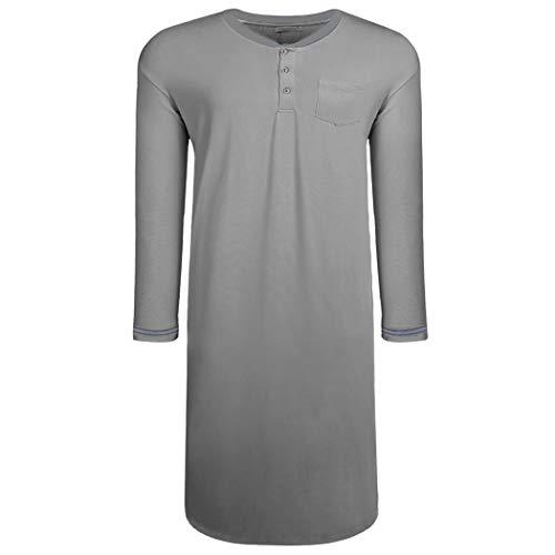 Langle Herren Nachthemd Big & Tall Schlafshirt Langarm Pyjama Henly Übergröße Nachthemd M-XXXL - - X-Large - Big-tall-hemden