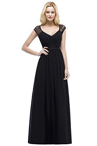 Damen Elegant Chiffon Abiballkleid Abschlussballkleid mit Blumenstickerei lang Navy Blau 36