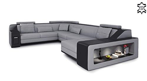 XXL Wohnlandschaft Leder grau / schwarz Couch Sofa U-Form Ledersofa Ledercouch Designsofa mit LED-Licht Beleuchtung EMPORIO