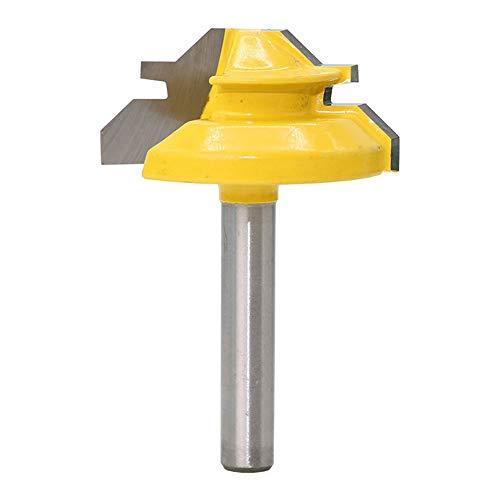 Erduo 1/4 Zoll 45 Grad Tenon Messer 1 / 4x1-3/8 Stile Finger Joint Kleber Fräser Cone Tenon Holzschranktür Cutter Handwerkzeug - gelb -