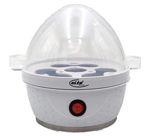 Elta Eierkocher EK-114.1 (360 Watt, für bis zu 7 Eier, inklusive Eierstecher und Messbecher, integriertes Edelstahl Heizelement, weiß)