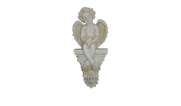 Antikes Wohndesign 1 x Wandkonsole Wandkonsolenlen Wandablage Kaminkonsole Engelsgesicht Engel Elfe Creme Beige