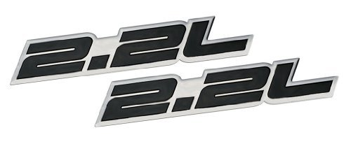 2 x (pair/Set) 2.2L Liter Embossed BLACK on Highly Polished Silver Real Aluminum Auto Emblem Badge Nameplate for Honda Accord LX EX DX Prelude H22 S2000 F22C S Civic Del Sol CRX CR-X Integra Acura CL Odyssey Toyota Camry LE Mini Wagon MR2 Celica GT Solara SE CE Scion FR-S Mazda 626 B2200 MX6 MX-6 Nissan 200SX Isuzu Trooper Turbo Diesel Rodeo Subaru Outback Legacy L BRZ Impreza Sedan coupe Wagon 2 3 4 5 2dr 3dr 4dr 5dr door hatchback turbo turbocharged