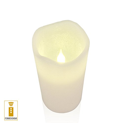 luz decoración Vela LED de cera (7,5x 12cm temporizador mando a distancia color marfil