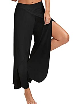 Tenxin Leggings Donna Push Up,Estate Donne Casual Pantaloni Larghi Gamba Culottes Stretch Abbigliamento Pantaloni...