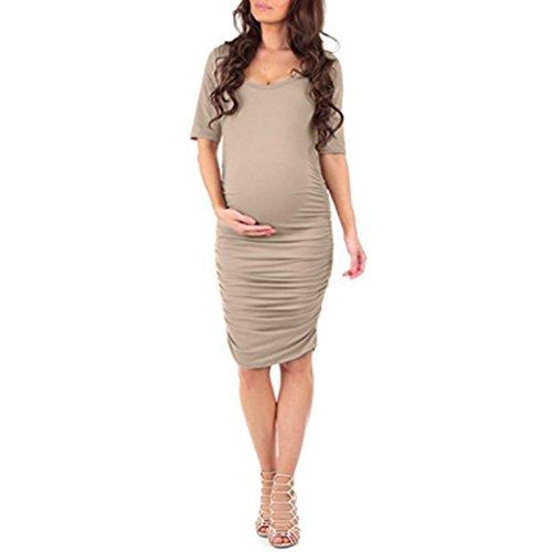Trada Reine Farbe Kleid der schwangeren, Frauen Sommer Wrapped Geraffte Mutterschaft Schwangere Feste Kurzarm Kurzen Kleid Umstandskleid Umstandsmode Schwangerschaftskleid (S, Khaki) (Taille-mini-rock Geraffter)