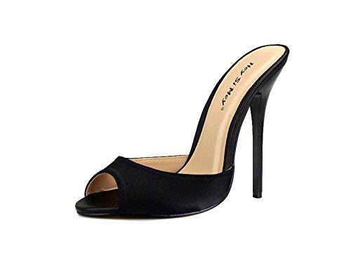 Damen Sexy Fein Mit 14 Cm Hohen Absätzen Satin Material Pendler Kleid Abschlussball (sieben Farben Optional),Black-EU46