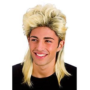 Mens Blonde 80's Retro Mullet Wig