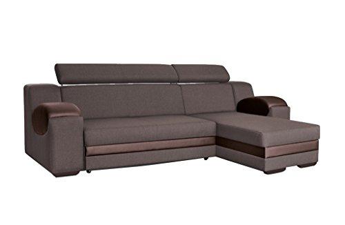 mb-moebel Ecksofa Sofa Eckcouch Couch mit Schlaffunktion und Bettkasten Ottomane L-Form Schlafsofa Bettsofa Polstergarnitur Mercury (Ecksofa Rechts, Braun)