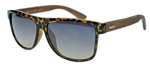 (Herren Sonnenbrille Wayfarer Style Old School Look Holzbügel WFW (Schwarz / Ebony) (Tortoise / Oak))