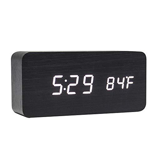 Lanker Horloge Numérique en Bois - Réveil à LED Multifonction avec Affichage De L'heure/De La Date/De La Température Et Commande Vocale pour Le Voyage à Domicile - AC11Black_Wh