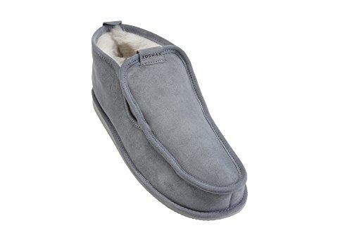 Herren Mokassin Lammfell Hausschuhe echtleder Gefuttert Wolle Pantoffeln Schlappen Schuhe Grau / Weiß