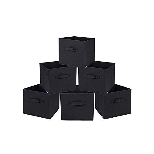 Mobile Korb (Rebecca Mobili 6er Set Korb Aufbewahrungsbox schwarz Stoff faltbar praktisch Zuhause Büro (Code RE4724))