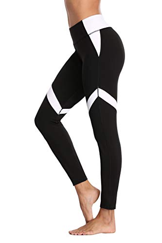 Weiße Streifen Leggings (Charmo Damen Sport Leggings Jogginghose Yoga Leggins Laufhose Lang Weiß Streifen M)