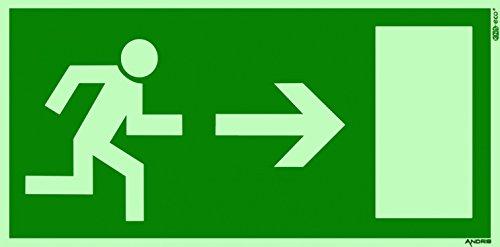 Fluchtweg / Notausgang Schild orig. ANDRIS® Pfeil rechts DIN Kunststoffplatte lang nachleuchtend 300x150mm
