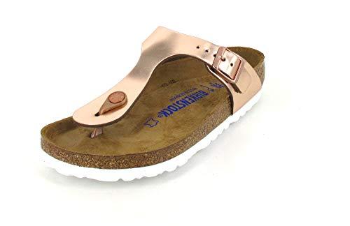 BIRKENSTOCK Womens Gizeh Metallic Copper Leather Sandals 40 EU Lady Open Toe Strappy Sandal