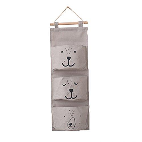 display08Cute Cartoon Wand hängendes Spielzeug Aufbewahrungstasche Home Kosmetik Organizer Tasche–3pockets, baumwolle, grau, 25.59