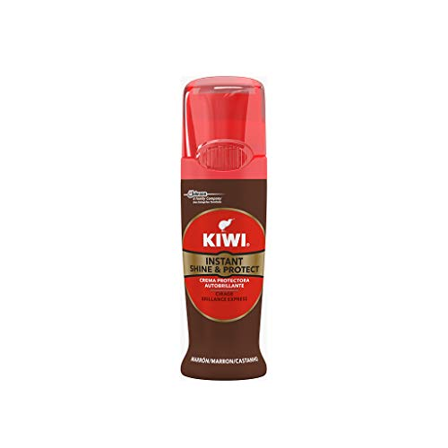 KIWI Shine & Protect Marrón - Crema de Ceras para el Cuidado del Calzado con Autoaplicador, Contiene Carnauba Wax para Mejorar el Color, formato 75ml