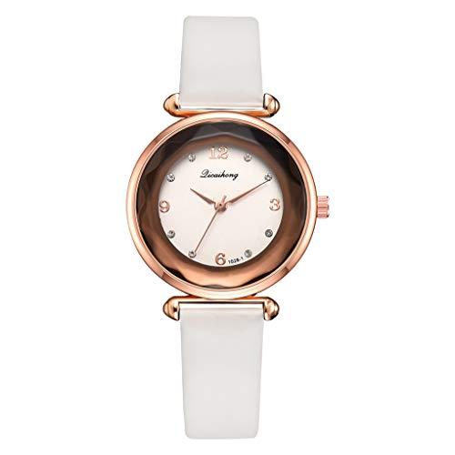 Kakiyi Dial Frauen-runde Quarz-Uhr-Rose Gold Frame Strass beiläufige Armbanduhr Feiertags-Geburtstag-Geschenke