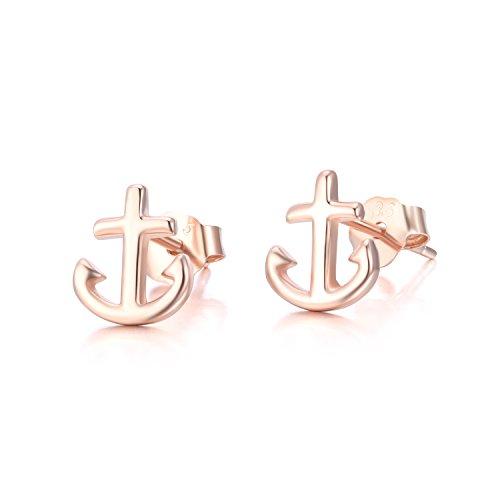 TRENDWERT Anker-Ohrstecker-Ohrring aus 925 Sterling-Silber mit Rhodium oder rose-Gold Veredelung für Damen Mädchen Kinder (Rosegold)