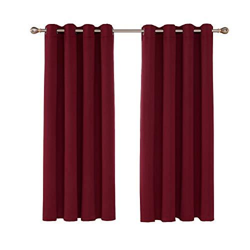 Umi. Essentials 2 Stück Verdunkelungsgardinen mit Ösen Vorhang Blickdicht 138x117 cm Rot - Rote Ösen