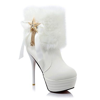 Zapatos De Cuero Rtry Mujer En Invierno Botas De Moda Del Estilete Del Talón Del Dedo Del Pie Redondo Tobillo / Botas Para Vestimenta Blanco Negro Us10.5 / Eu42 / Uk8.5 / Cn43