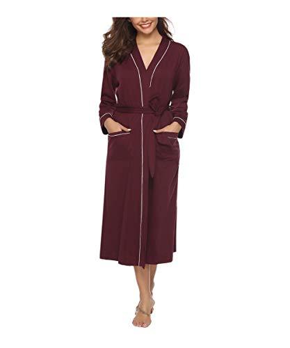 Sykooria Bademantel Damen Baumwolle, Sommer Morgenmantel Damen Pyjama Lang mit V Ausschnitt Saunamantel Damen Kimono Nightwear, Perfekt für Loungewear, Nachtwäsche, Spa