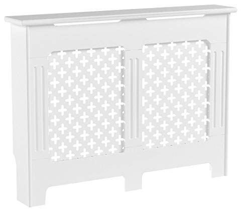 Home Discount Oxford Radiator Cover White Traditional Painted MDF Cabinet,  Medium