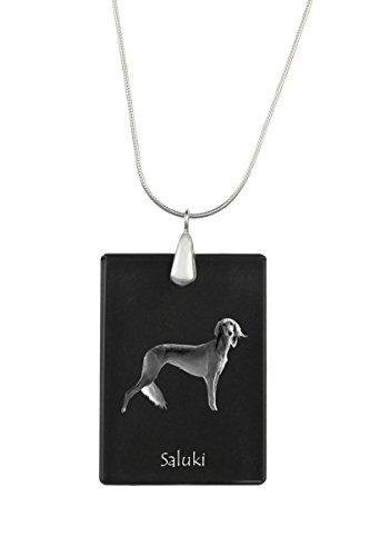 ArtDog Ltd. Saluki, Hund Kristall Anhänger, Silver Halskette 925, Hohe Qualität (Hund Saluki)