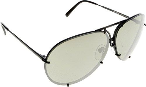 Porsche design occhiali da sole p8478 oro chiaro / marrone + set di lenti azzurre, specchiate argento, 66mm, nero opaco, lenti olive, argento specchiato + set, 66
