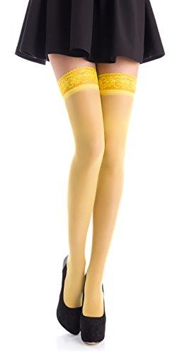 Romartex halterlose 20 DEN Elasthan Strümpfe mit schmalem Spitzenbund (4-6 cm), S, gelb