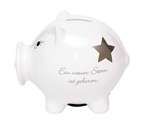 Brillibrum Design Sparschwein Taufgeschenk Sparbüchse Aus Porzellan Geschenkidee zur Geburt Schweinspardose mit Schnuller -