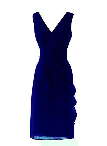 YiYaDawn Kurzes Cocktailkleid Partykleid Brautjungfernkleid für Damen Königsblau