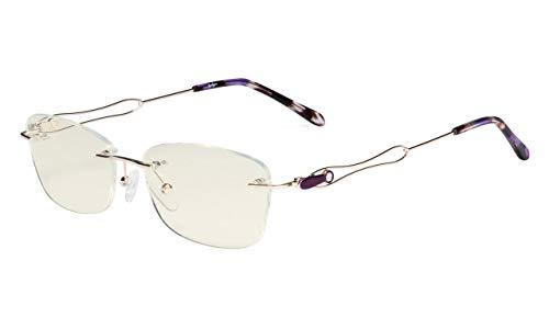Eyekepper Randlos Blaulichtfilterung Computer Brille - Damen Stilvoll Brillen-UV420 Schutz Anti Auge Belastung Müde Auge Linderung Leser Frauen- Silber Rahmen mit Lila Tempel Tipps -