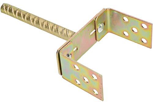 KOTARBAU U-Pfostenträger 0-160 mm Breitverstellbar Stange 200 mm Pfostenträger mit Betonanker Bodenhülse Pfosten zum Einbetonieren Dolle Verzinkt