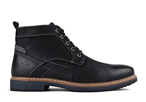 Lee Cooper Herren Stiefel Boots Schnürstiefelette aus Leder (45 EU, schwarz)