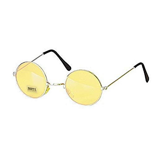 PARTY DISCOUNT Brille Hippie, runde, orange Gläser aus Metall