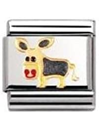 Nomination Composable Classic TIERE - LAND Edelstahl, Email und 18K-Gold (Esel) 030212