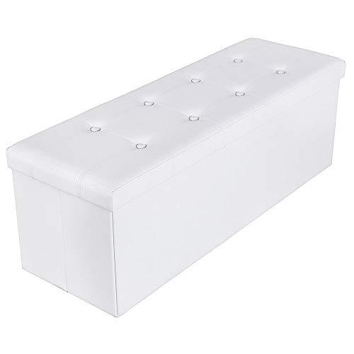 Songmics 110 x 38 x 38 cm Baúl Puff Taburete para almacenaje Plegable Carga máxima de 300 kg Blanco...