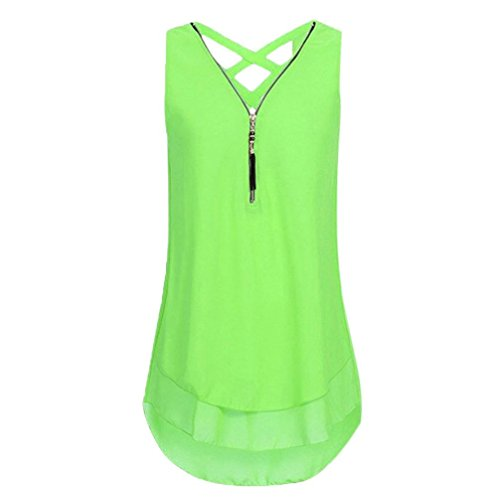 JUTOO Women Loose Flowers Chiffon Sleeveless Tank V-Neck Zipper Hem Scoop TShirts Tops(A-Mint Grün, EU:34/CN:S)