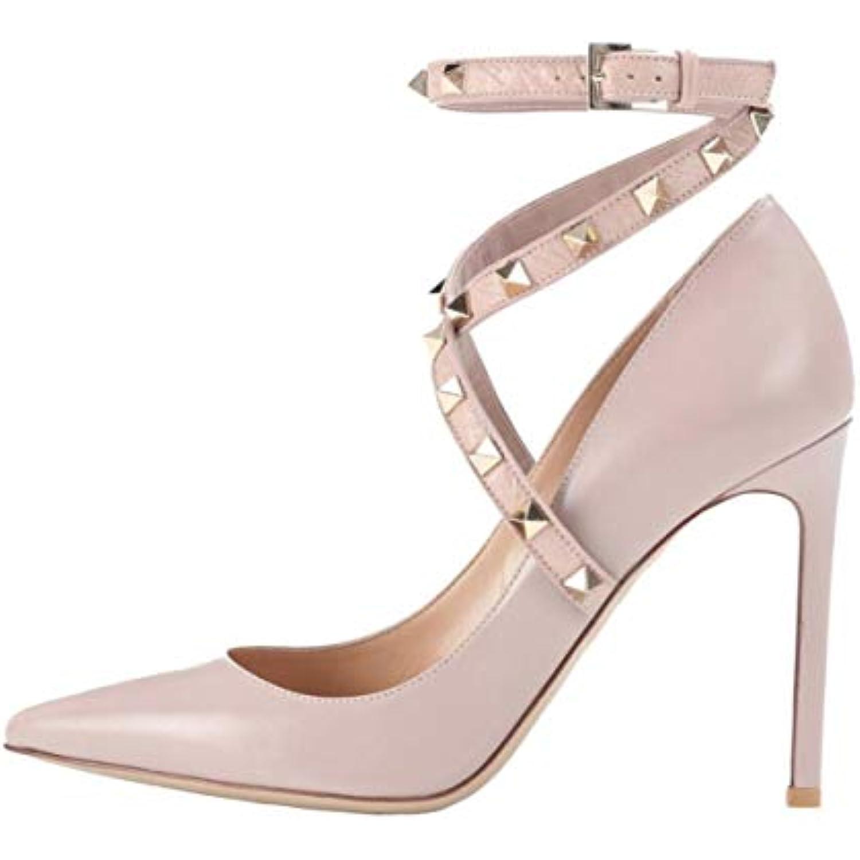Shiney Femmes Sexy Grande Taille Nue Couleur Stiletto avec Chaussures Rivets Chaussures De Mariage Chaussures avec De Mariage - B07H1L8NTP - a3a268