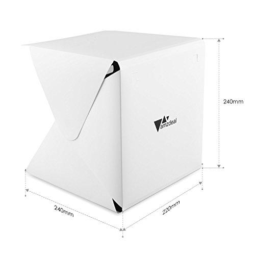 Amzdeal Caja de fotografía/ Caja de luz portátil para hacer fotos a objetos de pequeño tamaño 20LEDs 20 x 20 cm con dos fondos negro/ blanco