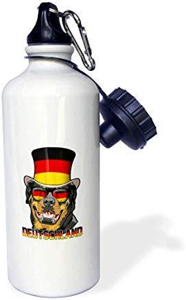 land Rottweiler Hund mit Deutschlandflagge Top Hat und Sonnenbrille Weiß Aluminium Sport Trinkflasche Neuheit Geschenk ()