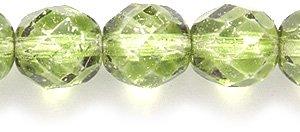 Preciosa Tschechisches Feuer, poliert, 8 mm, rund, facettiert, grün-Silberne Beschichtung, 75 Stück